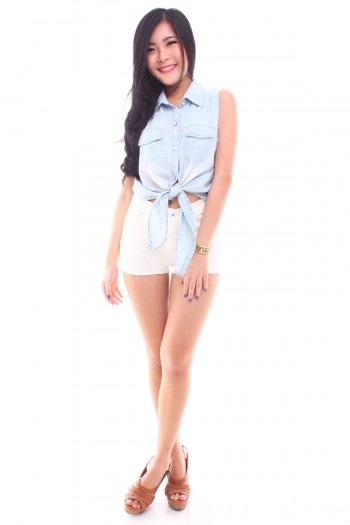 Tie-Front Studded Denim Top