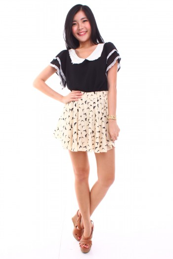 Swallows Print Skirt