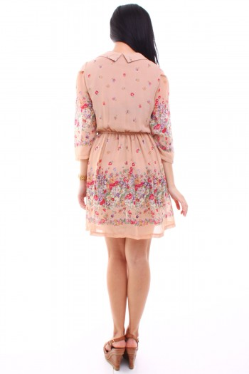 Floral Long Sleeves Dress