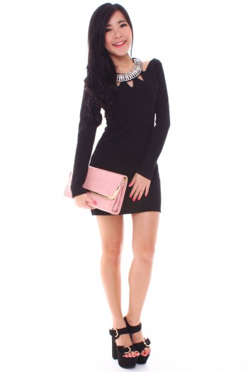 Cut-Out Diamante Bib Dress