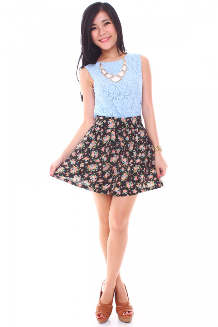 High waisted floral skirt - H M - Choose Your Region