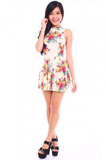 Cut-In Foral Skater Dress