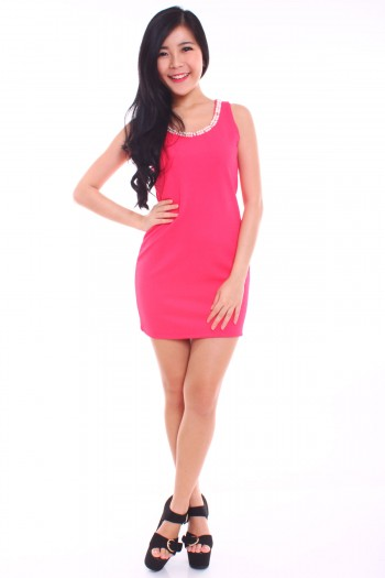 Pearl Diamante Shift Dress