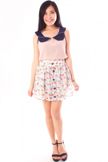 Button Floral Skirt