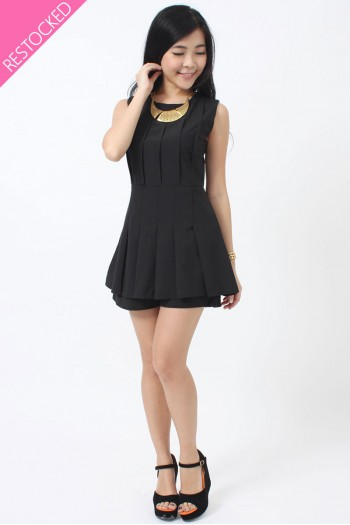 Pleated Peplum Romper