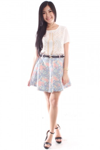 Faded Floral Denim Skirt