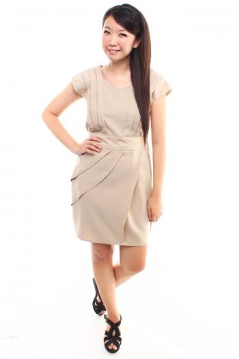 V-neck Pleated Work Dress