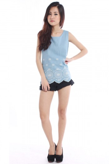 Embroidered Scallop Hem Denim Top