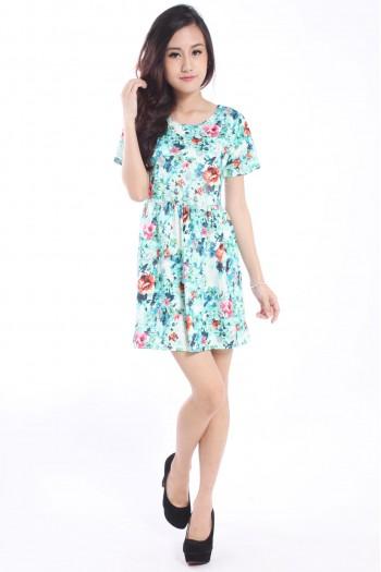 Floral Watercolour Babydoll Dress