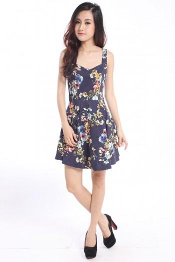 Sweetheart Floral Skater Dress