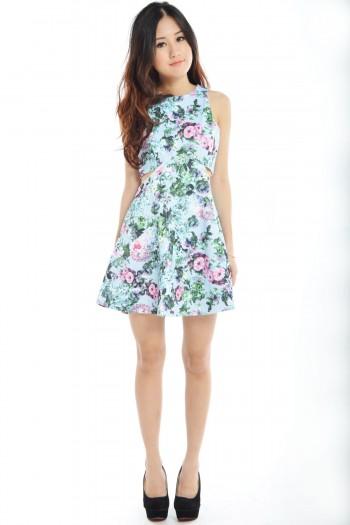 Cut-In Floral Skater Dress
