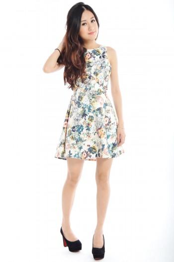 Cut-Out Floral Skater Dress