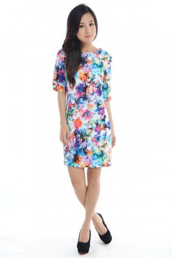 Abstract Watercolour Shift Dress