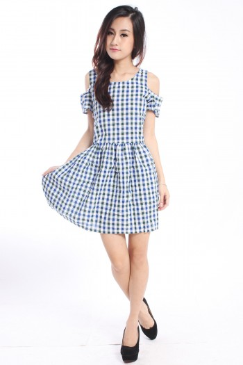 Slit Sleeves Checkered Dress