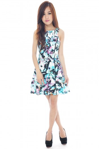 Abstract Contrast Piping Dress