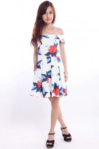 Off Shoulder Floral Skater Dress