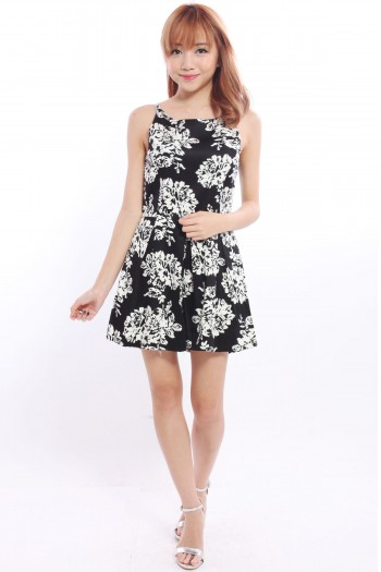 Monochrome Floral Pleated Playsuit