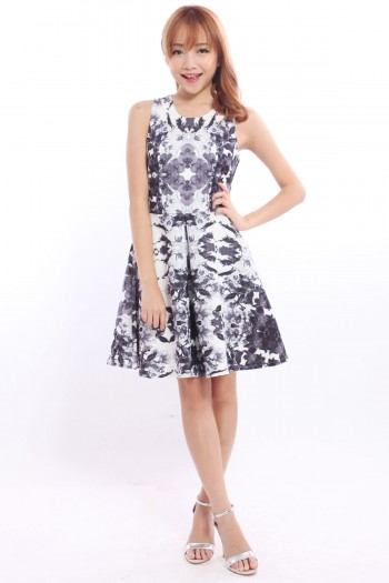 *Premium* Mirrored Floral Skater Dress