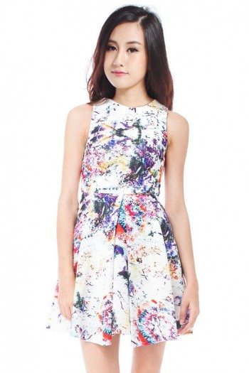 *Premium* Colourburst Splatter Skater Dress