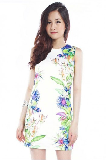 *Premium*Floral Lined Shift Dress