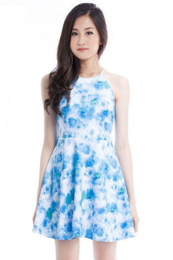 *Premium* Abstract Digital Print Halter Dress