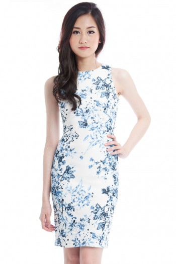 *Premium* Porcelain Midi Shift Dress
