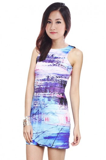 Abstract Paint Splash Bodycon Dress