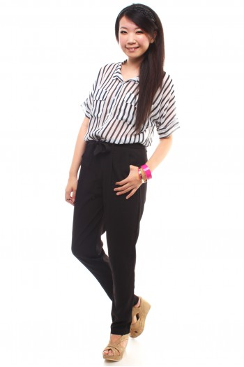 Chiffon Pocket Striped Shirt
