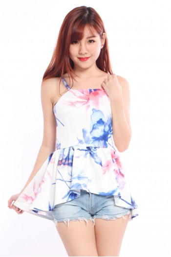 Watercolour Asymmetric Peplum Top