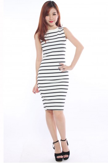 Sporty Sripe Midi Dress