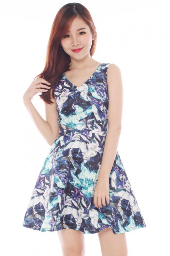 *Premium* V-neck Abstract Skater Dress