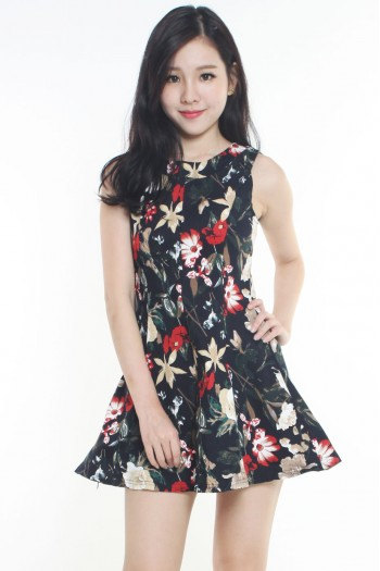 Floral Flare Pleated Dress