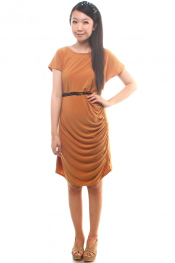 Mustard drape dress