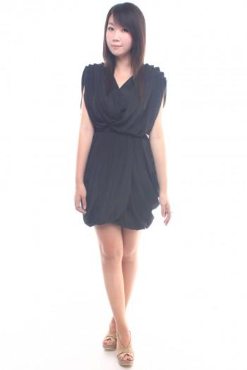 Pleated Drape Dress