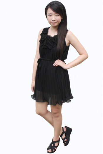 Ruffled Bib Pleated Dress