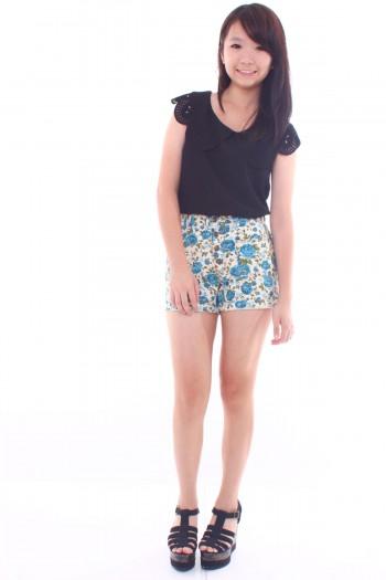 Floral High Waist Denim Shorts