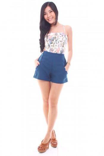 Scallop Pockets High Waist Shorts
