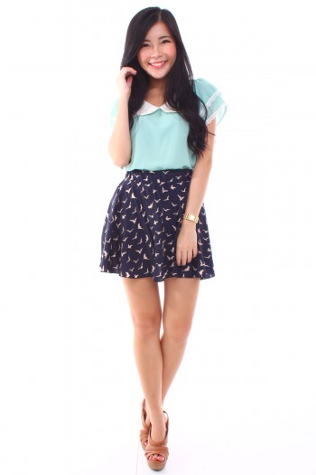 Swallows Print Skirt