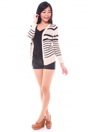 Striped Eyelet Cardigan