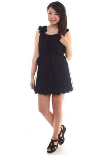 Chiffon Ruffled Sleeves Dress