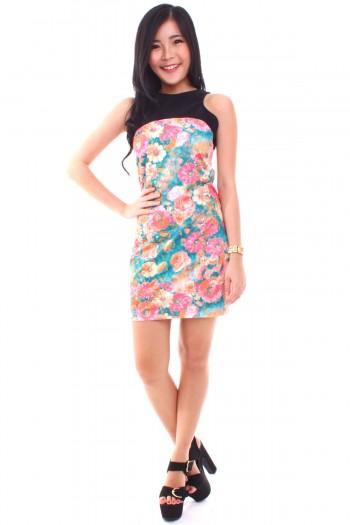 Cut-In Watercolour Floral Dress