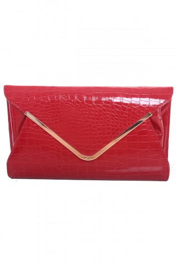 Metal Rim Croc Skin Envelope Clutch